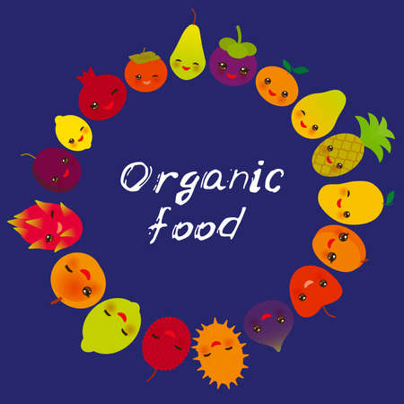 Organic food, cute funny kawaii fruit Pear Mangosteen tangerine pineapple papaya persimmon pomegranate lime apricot plum dragon fruit figs mango peach lemon lychee apple kiwano on blue. Vector illustration