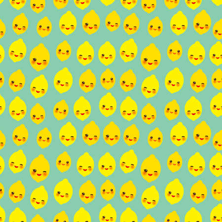 Seamless pattern with cute Kawaii lemon lime with wink eyes and pink cheeks, orange on blue mint background trend of the season. Can be used for Gift wrap fabrics, wallpapers, food packaging. Vector illustration  イラスト・ベクター素材