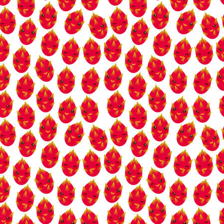 Seamless pattern with cute Kawaii dragon fruit with wink eyes and pink cheeks, isolated on white background trend of the season. Can be used for Gift wrap fabrics, wallpapers, food packaging. Vector illustration
