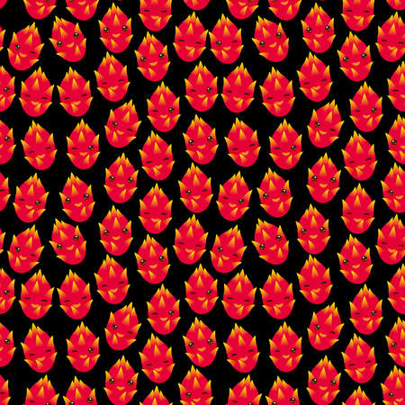 Seamless pattern with cute Kawaii dragon fruit with wink eyes and pink cheeks, on black background trend of the season. Can be used for Gift wrap fabrics, wallpapers, food packaging. Vector illustration
