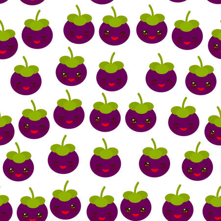 Seamless pattern cute Kawaii purple mangosteen with wink eyes and pink cheeks, isolated on white background trend of the season. Can be used for Gift wrap fabrics, wallpapers, food packaging. Vector i  イラスト・ベクター素材