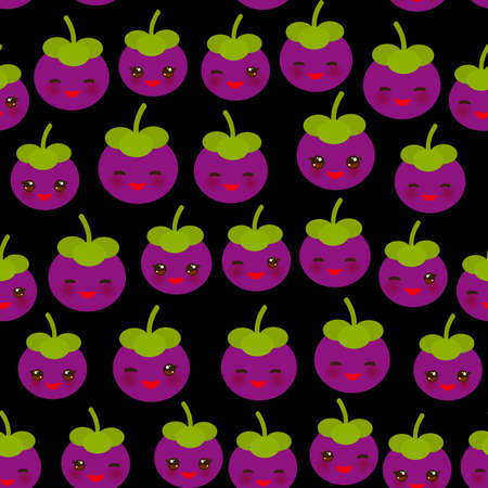 Seamless pattern with cute Kawaii mangosteen with wink eyes and pink cheeks, purpie on black background trend of the season. Can be used for Gift wrap fabrics, wallpapers, food packaging. Vector illustration  イラスト・ベクター素材