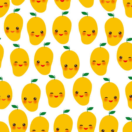 Seamless pattern with cute Kawaii mango with wink eyes and pink cheeks, orange on white background trend of the season. Can be used for Gift wrap fabrics, wallpapers, food packaging. Vector illustration