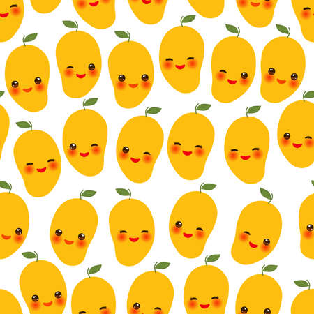 Seamless pattern with cute Kawaii orange mango with wink eyes and pink cheeks, isolated on white background trend of the season. Can be used for Gift wrap fabrics, wallpapers, food packaging. Vector illustration  イラスト・ベクター素材