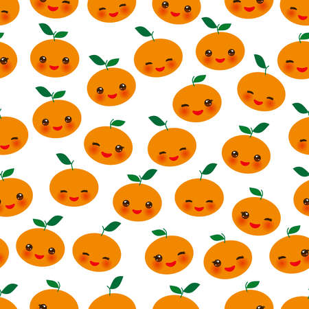 Seamless pattern cute Kawaii mandarin orange with wink eyes and pink cheeks, isolated on white background trend of the season. Can be used for Gift wrap fabrics, wallpapers, food packaging. Vector illustration  イラスト・ベクター素材