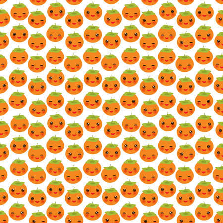 Seamless pattern with cute Kawaii persimmon with wink eyes and pink cheeks, isolated on white background trend of the season. Can be used for Gift wrap fabrics, wallpapers, food packaging. Vector illustration  イラスト・ベクター素材
