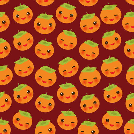 Seamless pattern with cute Kawaii persimmon with wink eyes and pink cheeks, on brown background trend of the season. Can be used for Gift wrap fabrics, wallpapers, food packaging. Vector illustration  イラスト・ベクター素材
