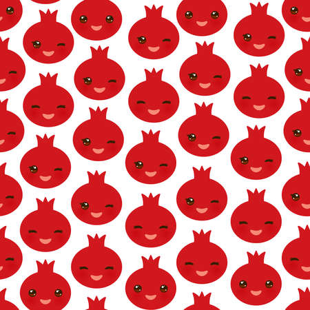 Seamless pattern with cute Kawaii pomegranate with wink eyes and pink cheeks, isolated on white background trend of the season. Can be used for Gift wrap fabrics, wallpapers, food packaging. Vector illustration  イラスト・ベクター素材