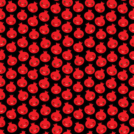 Seamless pattern with cute Kawaii pomegranate with wink eyes and pink cheeks, on black background trend of the season. Can be used for Gift wrap fabrics, wallpapers, food packaging. Vector illustration