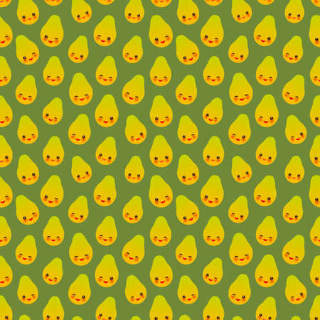 Seamless pattern with cute Kawaii papaya with wink eyes and pink cheeks, on green background trend of the season. Can be used for Gift wrap fabrics, wallpapers, food packaging. Vector illustration