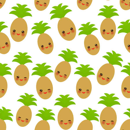 Seamless pattern with cute Kawaii pineapple with wink eyes and pink cheeks, isolated on white background trend of the season. Can be used for Gift wrap fabrics, wallpapers, food packaging. Vector illustration