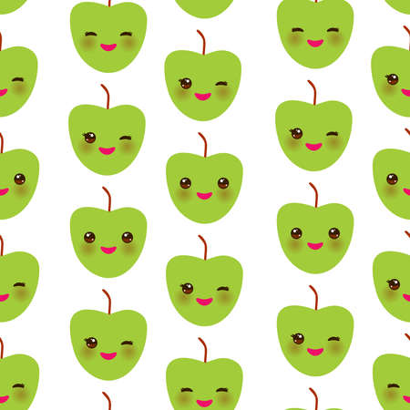 Seamless pattern with cute Kawaii green apple with wink eyes and pink cheeks, isolated on white background trend of the season. Can be used for Gift wrap fabrics, wallpapers, food packaging. Vector illustration
