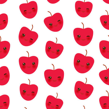 Seamless pattern with cute Kawaii red apple with wink eyes and pink cheeks, isolated on white background trend of the season. Can be used for Gift wrap fabrics, wallpapers, food packaging. Vector illustration