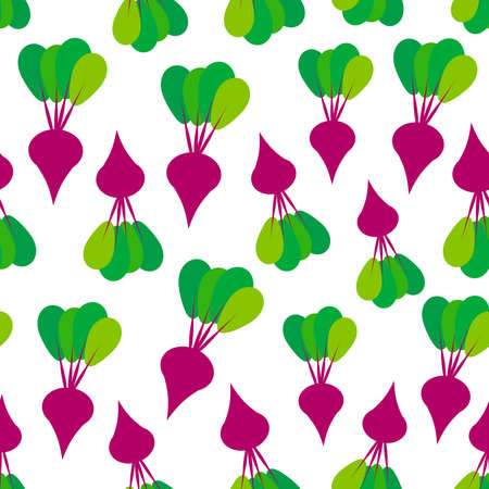 Seamless pattern with red beets with green leaves, isolated on white background trend of the season. Can be used for Gift wrap fabrics, wallpapers, food packaging. Vector illustration  イラスト・ベクター素材