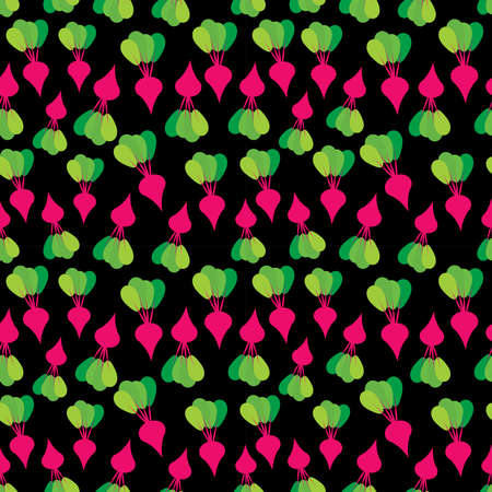 Seamless pattern with red beets with green leaves, on black background trend of the season. Can be used for Gift wrap fabrics, wallpapers, food packaging. Vector illustration