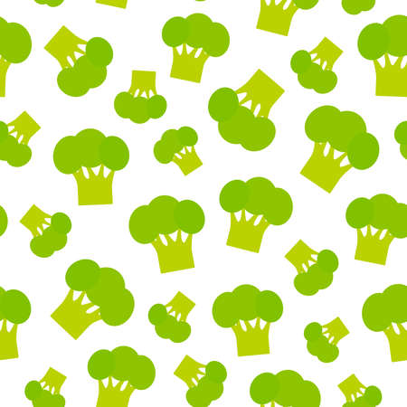 Seamless pattern with broccoli green cabbage, isolated on white background trend of the season. Can be used for Gift wrap fabrics, wallpapers, food packaging. Vector illustration