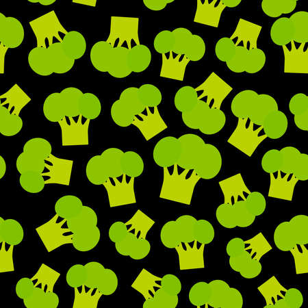 Seamless pattern with broccoli green cabbage, on black background trend of the season. Can be used for Gift wrap fabrics, wallpapers, food packaging. Vector illustration