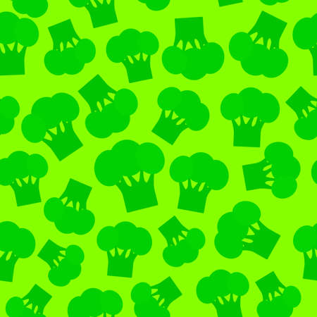 Seamless pattern with broccoli green cabbage, lime background trend of the season. Can be used for Gift wrap fabrics, wallpapers, food packaging. Vector illustration