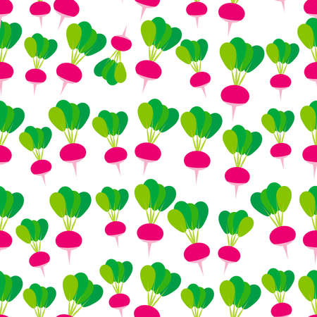 Seamless pattern with pink radish with green leaves, isolated on white background trend of the season. Can be used for Gift wrap fabrics, wallpapers, food packaging. Vector illustration
