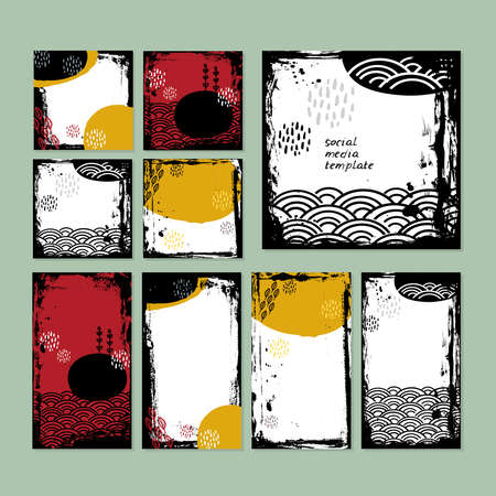Card banner design collection japanese doodle scandinavian style white black burgundy mustard grunge background. ornament trend of the season. Abstract tile template frame for text copy space. Vector illustration
