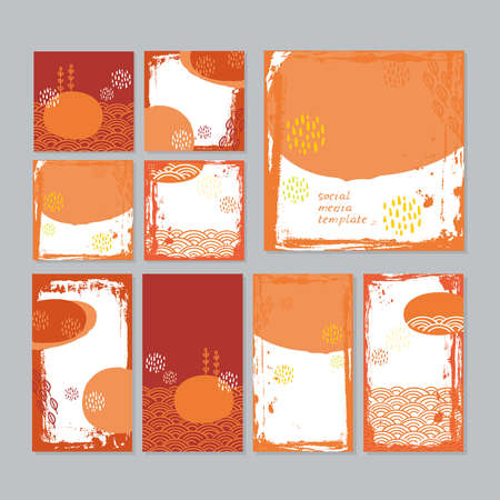 Card banner design collection japanese doodle scandinavian style white yellow orange burgundy grunge background. ornament trend of the season. Abstract tile template frame for text copy space. Vector illustration