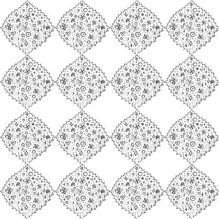Seamless pattern dragonfly butterfly doodle flowers, traditional geometric damask ornament white black background. Can be used for Gift wrap, fabrics, wallpapers scandinavian Nursery decor. Vector illustration