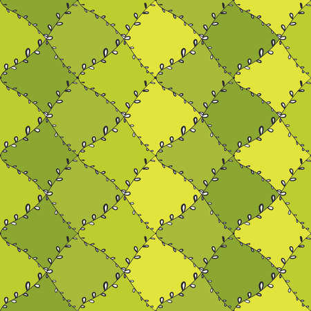 Seamless pattern abstract doodle lines, traditional geometric damask ornament yellow green black background. Can be used for Gift wrap, fabrics, wallpapers. Vector illustration Vectores