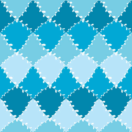 Seamless pattern abstract doodle lines, traditional geometric damask ornament white light sky blue cyan teal background. Can be used for Gift wrap, fabrics, wallpapers. Vector illustration