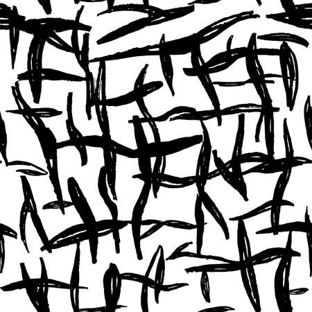 Seamless pattern white black lines chalk grid design, abstract simple scandinavian style background grunge texture. trend of the season. Can be used for Gift wrap fabrics, wallpapers. Vector illustration