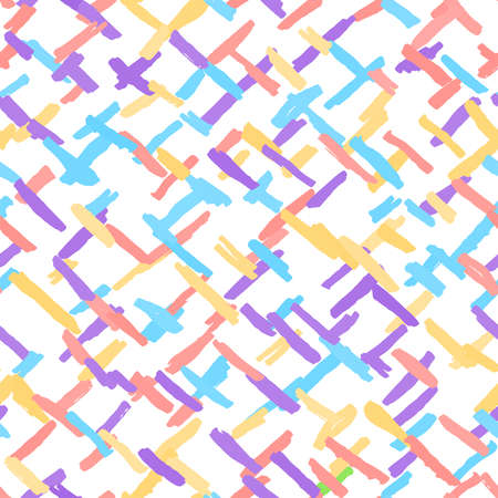 Seamless pattern chaotic light colorful lines chalk grid design abstract simple scandinavian style background grunge texture. trend of the season. Can be used for Gift wrap fabrics, wallpapers. Vector illustration