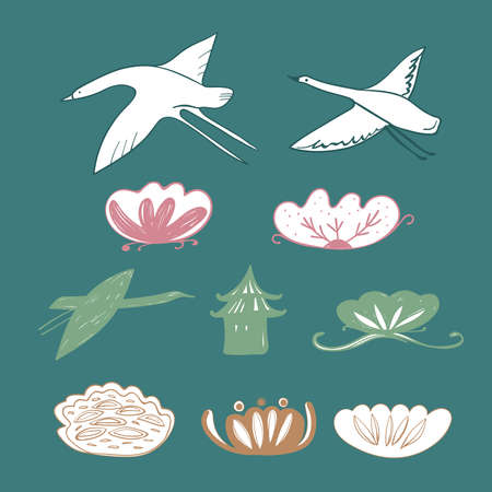 Simple lines  style  cranes, swans, heron birds fly and water lily design
