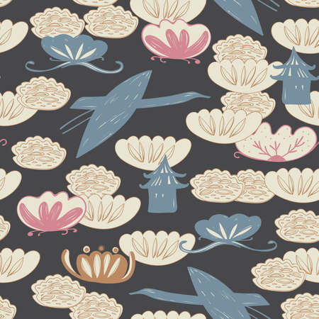 Seamless pattern of heron birds fly, pagoda and water lily background
