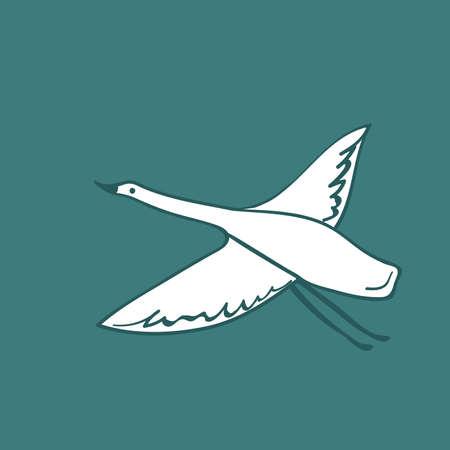 white crane swan, heron bird fly. Simple lines doodle hand drawing scandinavian style