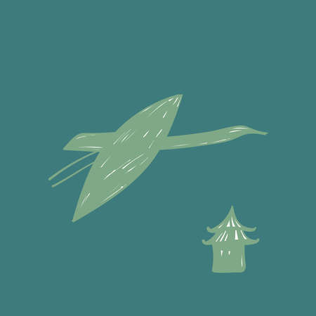 Green crane, japan pagoda, swan, heron bird fly, blue turquoise sky, simple lines doodle hand drawing scandinavian style background. trend of the season. Vector illustration Vettoriali