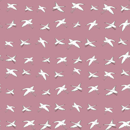Seamless pattern white cranes swans, herons birds fly, pink coral rosy sky, simple lines scandinavian style background. trend of the season. Can be used for Gift wrap fabrics, wallpapers. Vector illustration