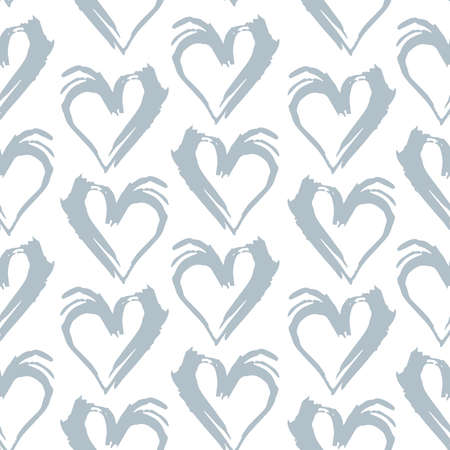 Seamless pattern gray white heart brush strokes lines design, abstract simple scandinavian style background grunge texture. trend of the season. Can be used for Gift wrap fabrics, wallpapers. Vector illustration