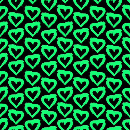 Seamless pattern black green heart brush strokes lines design, abstract simple scandinavian style background grunge texture. trend of the season. Can be used for Gift wrap fabrics, wallpapers. Vector illustration