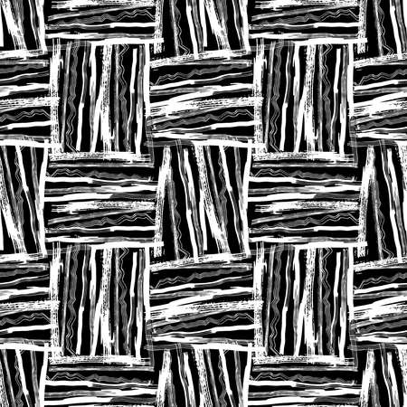 Seamless pattern white black lines squares brush strokes design abstract simple scandinavian style background grunge texture. trend of the season. Can be used for Gift wrap fabrics, wallpapers. Vector illustration