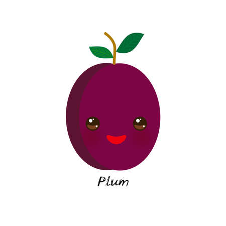 cute Kawaii purple plum with eyes and pink cheeks, isolated on white background trend of the season. Can be used for cards for children learning words, food packaging. Vector illustration Stock Illustratie