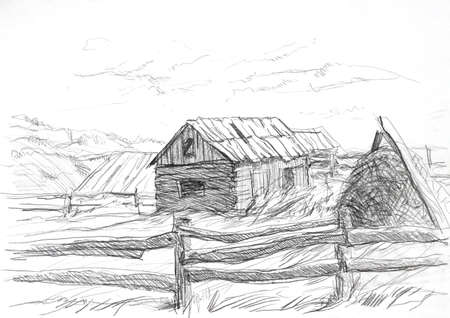 Rural landscape with mountains House fence and cows. Sketch, contour on white background.