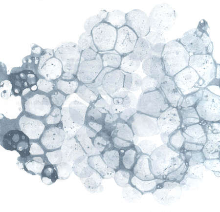 Watercolor abstract bubble splashing paint gray ink isolated on white background. Spray the stain graphic concept Stone pumice, lava volcano, the nature of the porous structure Illustration. Stock Photo