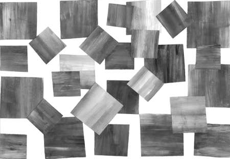Painting, contemporary Modern Art. gray black and white gradient, gouache acrylic paint in collage mosaic technique, abstract texture hand drawn background for your design.