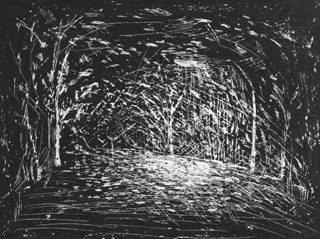 trees, night, light lanterns engraving etching scratches texture white black gradient unique watercolor paint in monotype technique, abstract texture background for your design 版權商用圖片