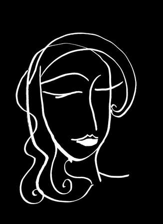 Artistic Portrait sketch beautiful woman Illustration of People Face doodle lines scandinavian style. Silhouette print for clothes, textile, poster card banner, decor trend of the season, black white