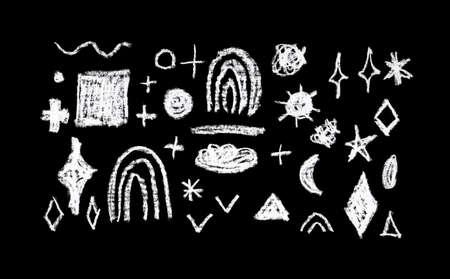 symbol collection design abstract stars rainbow sun rectangle, simple Nature chalk doodle lines scandinavian style background grunge texture. decor trend of the season, black white 版權商用圖片