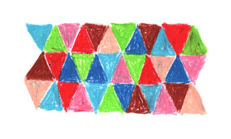 oil pastel red blue green pink, crayons abstract retro for your design sketch freehand drawing doodle triangles lines scandinavian style background grunge texture. Nursery decor trend of the season