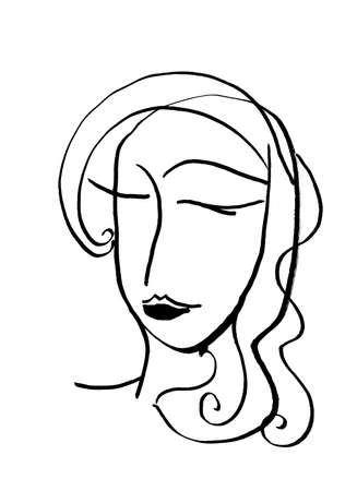 Artistic Portrait sketch beautiful woman Illustration of People Face doodle lines scandinavian style. Silhouette print for clothes, textile, poster card banner, decor trend of the season