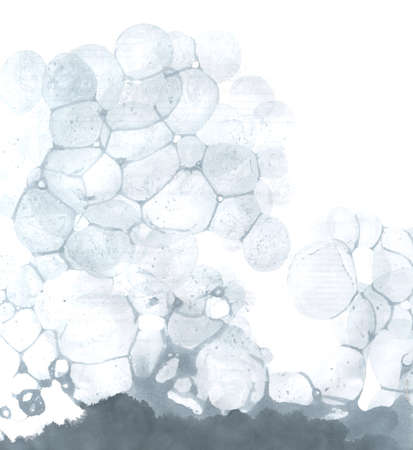 Watercolor abstract bubble splashing paint gray ink isolated on white background. Spray the stain graphic concept Stone pumice, lava volcano, the nature of the porous structure Illustration
