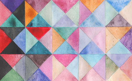 Watercolors triangles and squares, multicolored ornament, seamless pattern purple blue lilac green brown beige black pink red 版權商用圖片