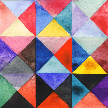 Watercolors triangles and squares, multicolored ornament, seamless pattern purple blue lilac green beige pink red black. 版權商用圖片